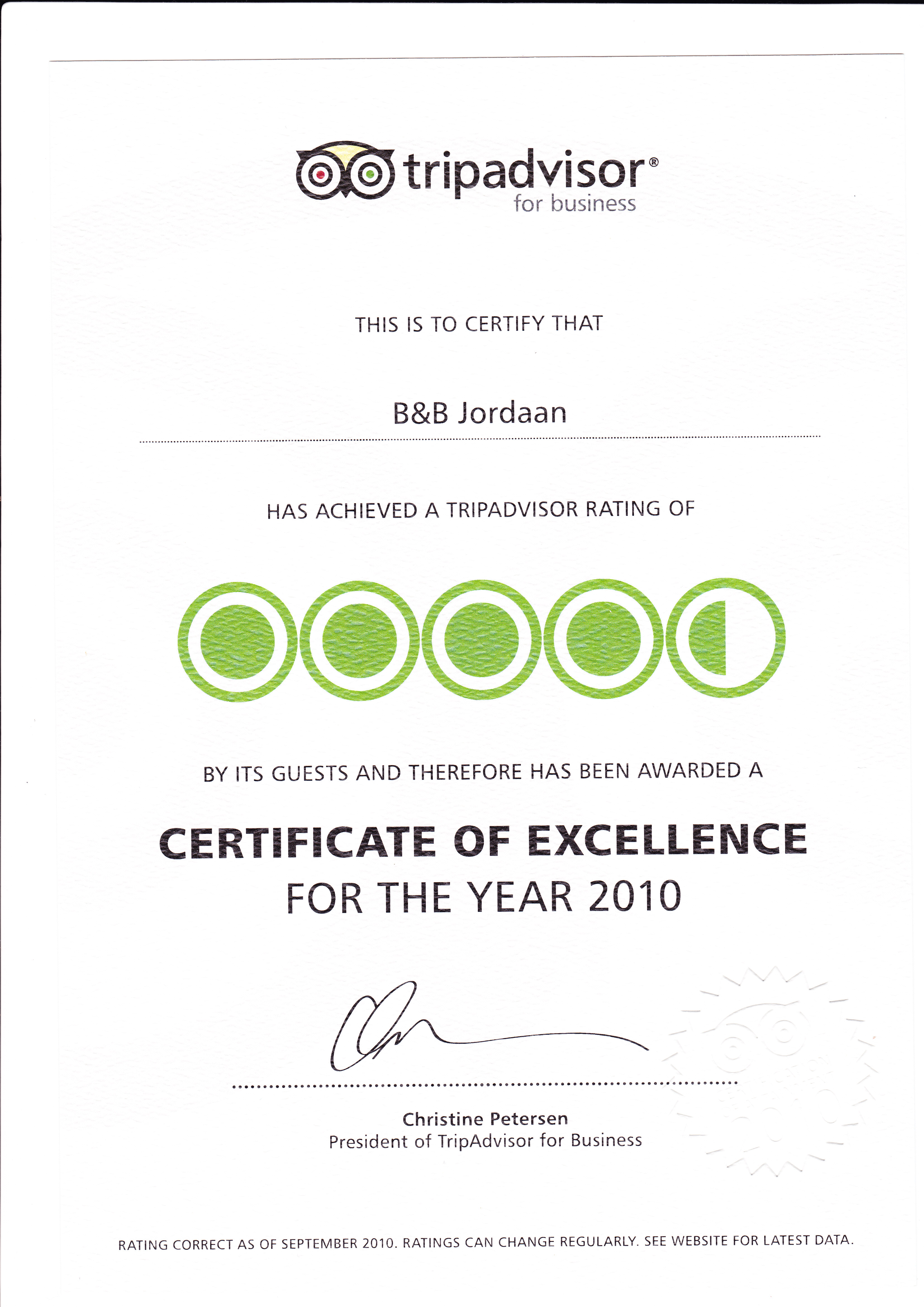 'Certificate of Excellence 2010', Tripadvisor award (3K)